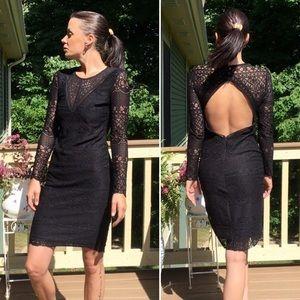 Bardot Lace Sleeve Black Cocktail Dress Open Back